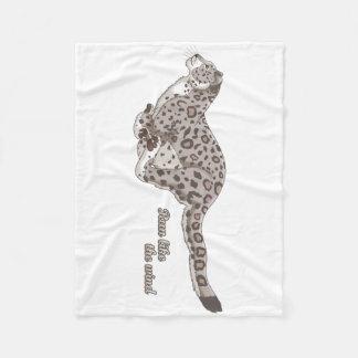 Snow Leopard Running Fleece Blanket