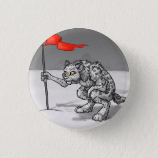 Snow Leopard Sentry 1 Inch Round Button