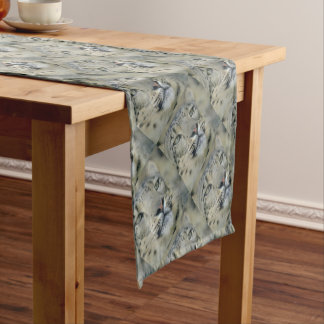 snow leopard short table runner