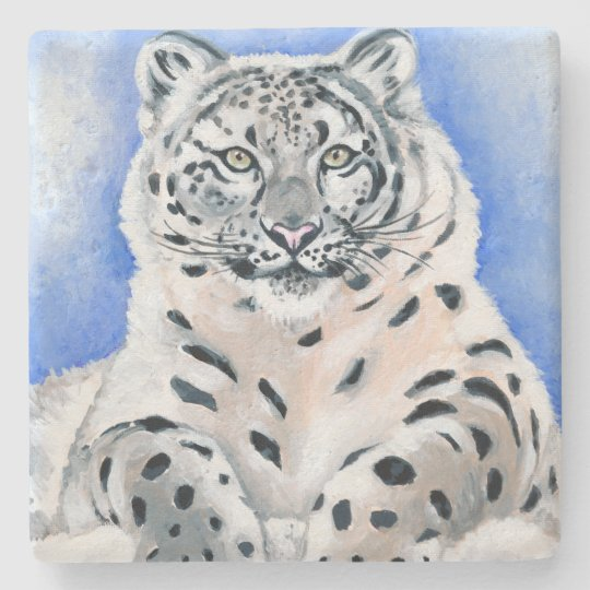 Snow Leopard Stone Beverage Coaster