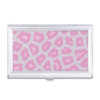 Snow Leopard style - Silver Pink Business Card Holder