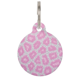 Snow Leopard style - Silver Pink Pet Name Tag