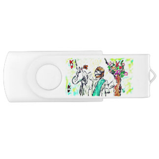 Snow Leopard winter art USB Flash Drive