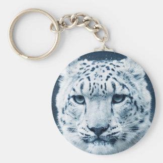 Snow Leopard Winter Snow Wildcat Nature Basic Round Button Keychain