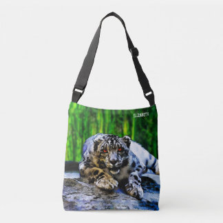 Snow Leopard With Red Eyes Drawing Crossbody Bag