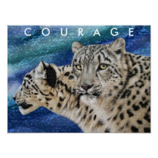 Snow Leopards Courage Motivational Poster