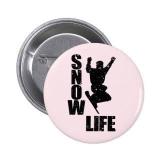 SNOW LIFE #3 (blk) 2 Inch Round Button
