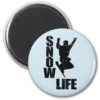 SNOW LIFE #3 (blk) 2 Inch Round Magnet