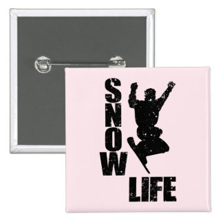 SNOW LIFE #3 (blk) 2 Inch Square Button