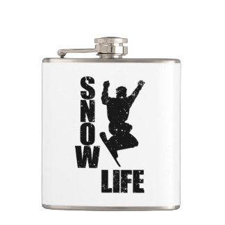 SNOW LIFE #3 (blk) Hip Flask