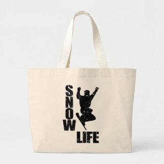 SNOW LIFE #3 (blk) Large Tote Bag