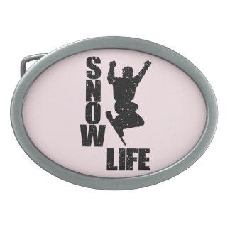 SNOW LIFE #3 (blk) Oval Belt Buckle