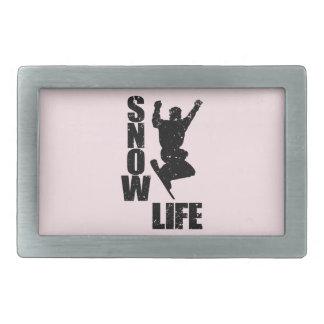 SNOW LIFE #3 (blk) Rectangular Belt Buckles