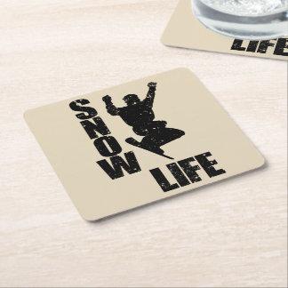 SNOW LIFE #3 (blk) Square Paper Coaster