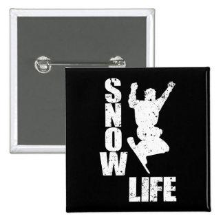 SNOW LIFE #3 (wht) 2 Inch Square Button