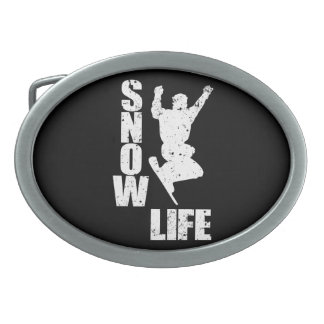 SNOW LIFE #3 (wht) Oval Belt Buckle
