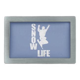 SNOW LIFE #3 (wht) Rectangular Belt Buckle