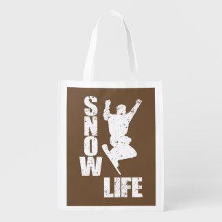 SNOW LIFE #3 (wht) Reusable Grocery Bag