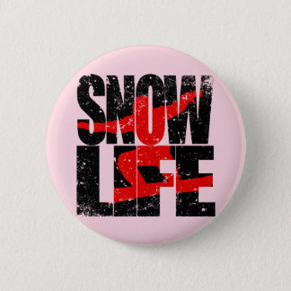 SNOW LIFE red boarder (blk) 2 Inch Round Button