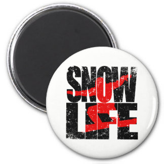 SNOW LIFE red boarder (blk) 2 Inch Round Magnet