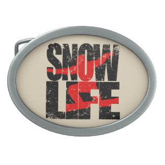 SNOW LIFE red boarder (blk) Belt Buckles