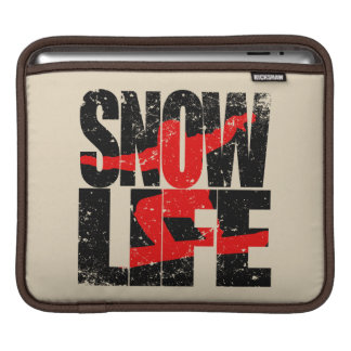 SNOW LIFE red boarder (blk) iPad Sleeve
