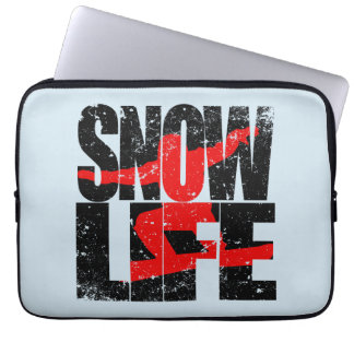 SNOW LIFE red boarder (blk) Laptop Sleeve