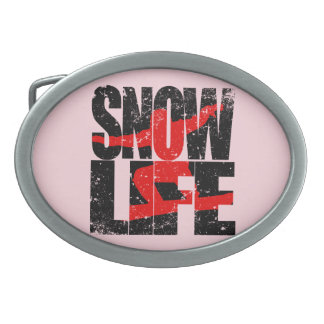 SNOW LIFE red boarder (blk) Oval Belt Buckle