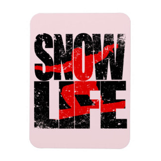 SNOW LIFE red boarder (blk) Rectangular Photo Magnet