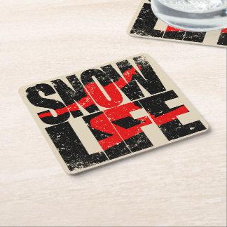 SNOW LIFE red boarder (blk) Square Paper Coaster