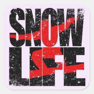 SNOW LIFE red boarder (blk) Square Sticker