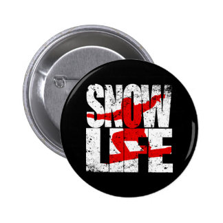 SNOW LIFE red boarder (wht) 2 Inch Round Button
