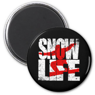 SNOW LIFE red boarder (wht) 2 Inch Round Magnet