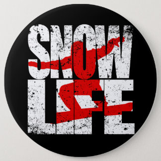 SNOW LIFE red boarder (wht) 6 Inch Round Button