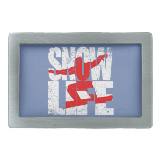 SNOW LIFE red boarder (wht) Belt Buckles