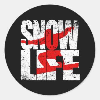 SNOW LIFE red boarder (wht) Classic Round Sticker