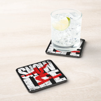 SNOW LIFE red boarder (wht) Coaster