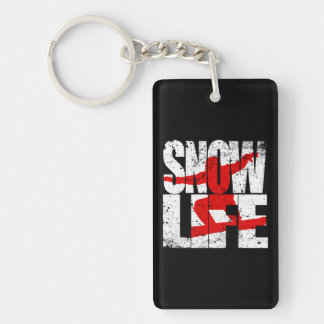 SNOW LIFE red boarder (wht) Keychain