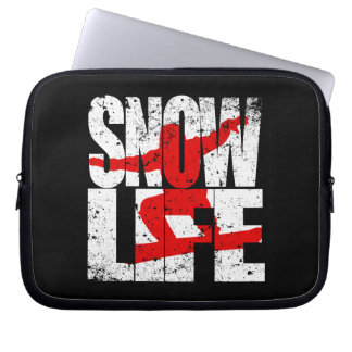 SNOW LIFE red boarder (wht) Laptop Sleeve