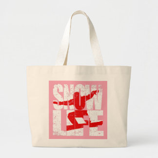SNOW LIFE red boarder (wht) Large Tote Bag