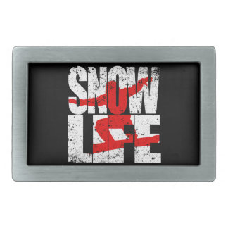 SNOW LIFE red boarder (wht) Rectangular Belt Buckles