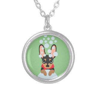Snow Loving Miniature Pinscher Silver Plated Necklace