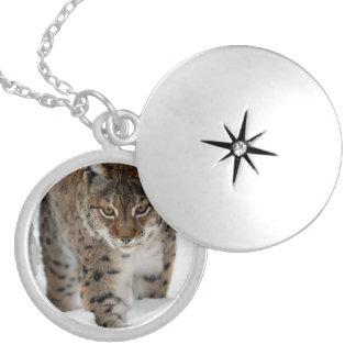 Snow Lynx Locket Necklace