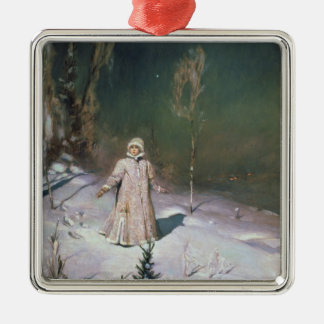 Snow Maiden, 1899 Silver-Colored Square Ornament