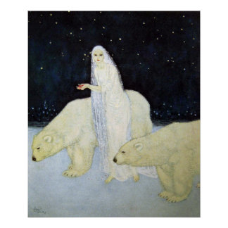 Snow Maiden and Polar Bears by Edmund Dulac Poster