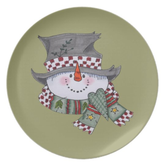 Snow Man Holiday Plate
