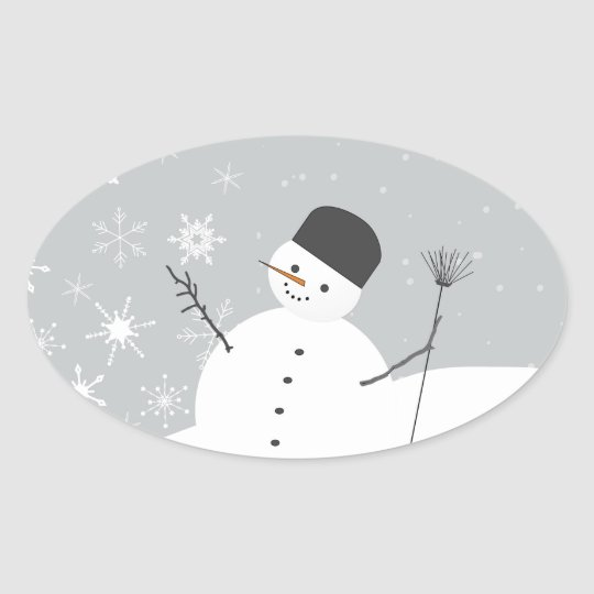Snow Man Oval Sticker