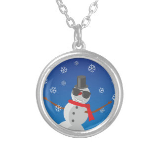 Snow Man Snow Winter Christmas Silver Plated Necklace