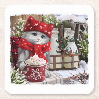 Snow milk square paper coaster