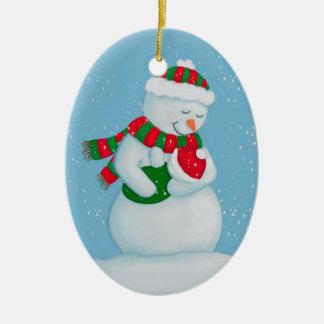 Snow Mom and Snow Baby Christmas Ceramic Ornament